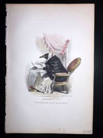 Grandville 1842 Hand Col Print. Old bird writing note